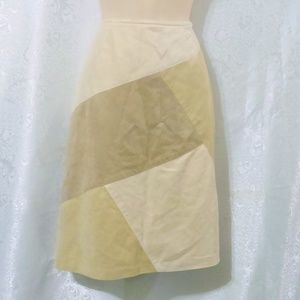 Liz Claiborne Tan Sueded Lined Patchwork Skirt